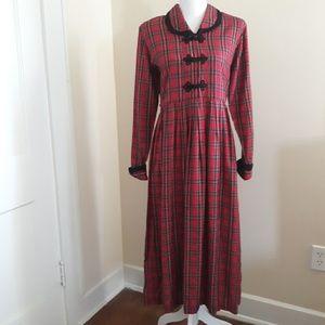 VTG 90's Tartan Plaid Maxi Length Dress